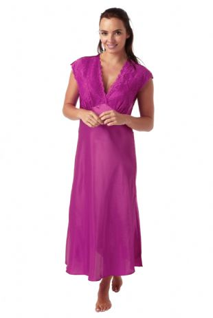 Ladies Long Satin and Lace Built-up Shoulder Nightdress Fushia Sizes 10-28